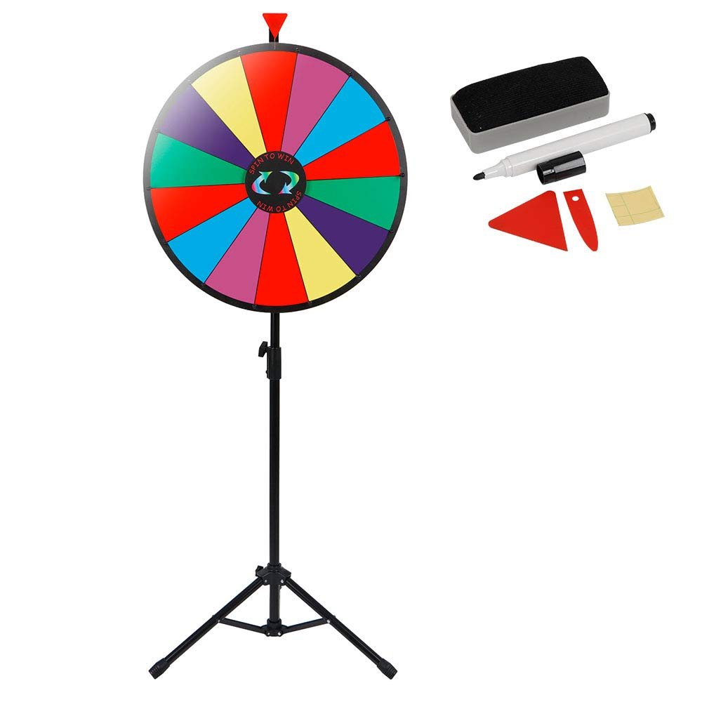 Smartxchoices 24'' Spin Wheel for Prizes with Stand Height Adjustable 14 Slots Color Prize Wheel Spinner Game with Dry Erase & Marker Pen, Trade Show Carnival Fortune