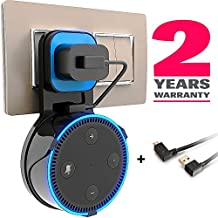 Echo Dot Wall Mount - Echo Dot Accessories - Echo Dot Holder - Echo Dot Outlet - Wall Case Stand Hanger Bracket Plate - for Dot 2nd Generation and Similar Speakers - Short Wire Cable Included - Black