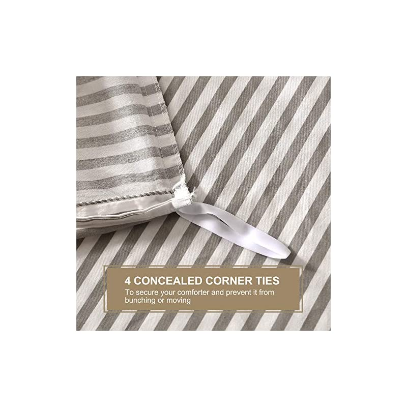 JELLYMONI 100% Natural Cotton 3pcs Striped Duvet Cover Sets,White Duvet Cover with Grey Stripes Pattern Printed…