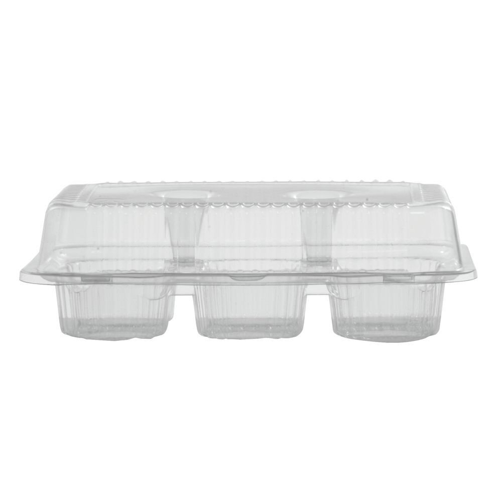 Plastic 6-Count Muffin Container Hinged - 9 1/2''L 6 3/4''W x 3''H