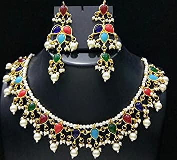 91c0e68cc5 Buy Necklace artificial fancy jewellery necklace with matching earrings  gold plated party wear set Online at Low Prices in India - Amazon.in