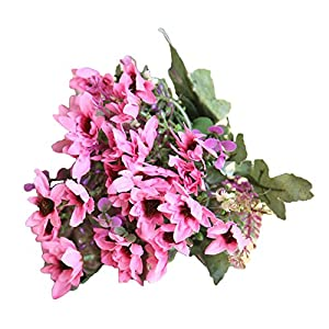 eroute66 25 Heads/1 Bouquet Artificial Flowers Plant China Aster Simulation Wedding Decor - Rose Red 117