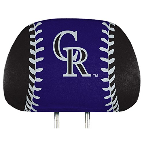 (ProMark Colorado Rockies Printed Full Color 2-Pack Head Rest Covers Elastic Auto Baseball )