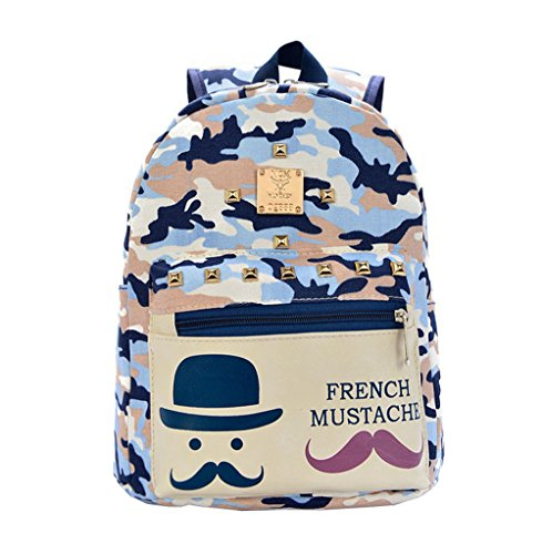 Price comparison product image Fashion canvas cute mustache school bags girls camouflage dark blue colors backpack