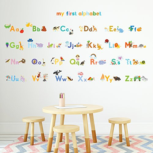 Decowall DA-1708 My First Alphabet ABC with Pictures Kids Wall Decals Wall Stickers Peel and Stick Removable Wall Stickers for Kids Nursery Bedroom Living Room