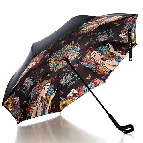 Nicole Lee Women's Cup Holder Handle Black Floral Print Pongee Uv Protection Reversible Umbrella, Angelina Follows Dream