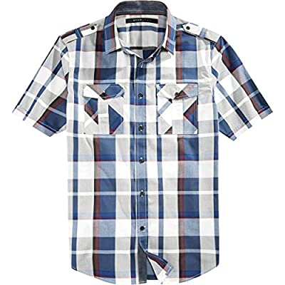 Sean John Mens Big & Tall Plaid Short Sleeves Button-Down Shirt