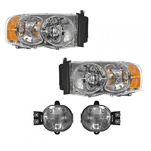 Headlight Fog Driving Light Lamp Kit LH RH Set of 4 for 02-05 Dodge Ram Driving Fog Light Set