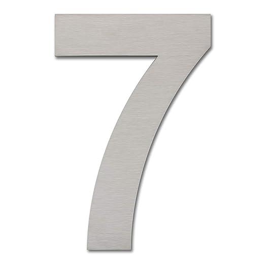 Número de casa moderno cepillado, 205 mm de altura, hecho de acero inoxidable 304 sólido, aspecto flotante y fácil de instalar (Número 7 Siete)
