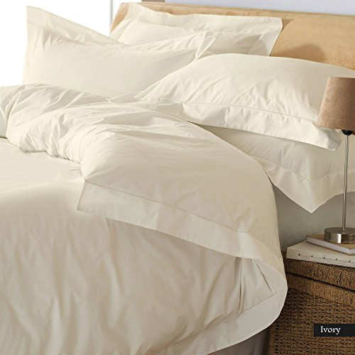 PEARLBEDDING Egyptian Cotton Duvet Cover 600 TC Solid ( Queen , Ivory ()