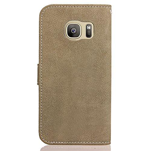 Funda Galaxy S7 edge,SainCat Funda de cuero sintético tipo billetera de Suave PU Carcasa Con Tapa y Cartera,Ranuras para Tarjetas y Billetera Funda de Scrub Matting Apariencia la Tribu Retro Moda Fund Gris