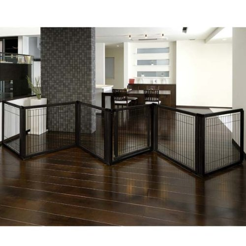 Richell Convertible Elite 6 Panel Pet Gate Black by Richell