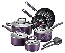 T-fal B131SC Color Luxe Hard Titanium Nonstick Thermo-Spot Dishwasher Safe PFOA Free Cookware Set, 12-Piece, Purple