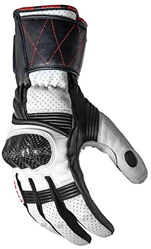 Motorcycle Sport Wasp Premium Leather Gauntlet Biker Gloves (X-Large, White/Black)