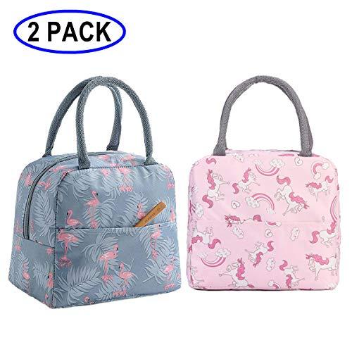 [해외]GOTONE 2팩 런치 백 단열 용기 여행용 피크닉 스쿨 런치 박스 접을 수 있는 토트백 앞 포켓 지퍼 잠금 재사용 가능 & 다용도 남성용 여성 및 아동용 (플라밍고 & 무지개 말) / GOTONE 2Pack Lunch Bag Insulated Container, Travel Picnic School Lu...