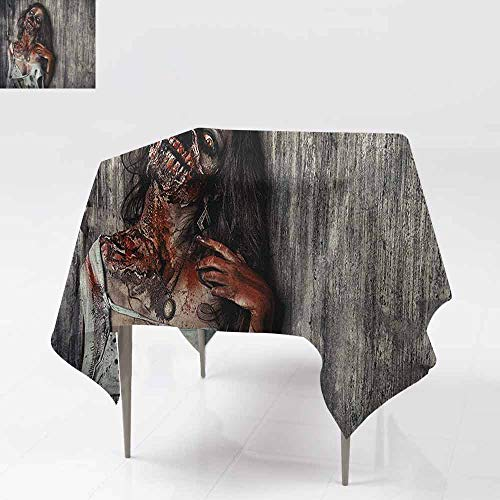 AndyTours Tablecloth for Kids/Childrens,Zombie,Angry Dead Woman Sacrifice Fantasy Design Mystic Night Halloween Image,for Square and Round Tables,54x54 Inch Dark Taupe Peach -