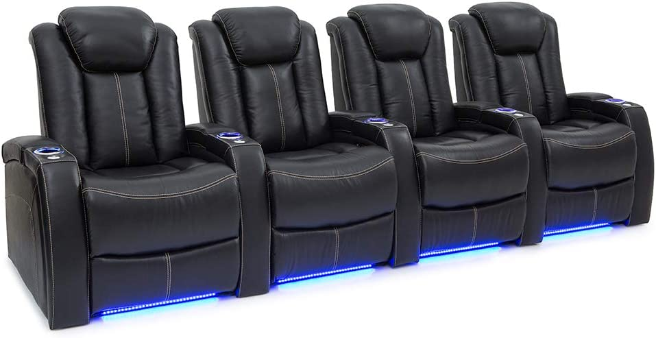 Seatcraft Delta Home Theater Seating Leather Power Recline, Powered Headrests, and Built-in SoundShaker (Black, Row of 4)