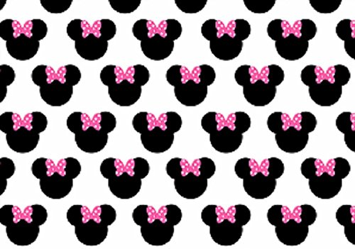 EDIBLE ICING BACKGROUND SHEET PINK BOW MINNIE MOUSE PATTERN CAKE TOPPER ICE4