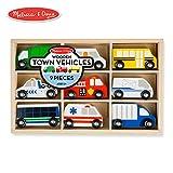 Melissa & Doug Wooden Town Vehicles Set (Wooden Storage Tray, 9 Pieces)