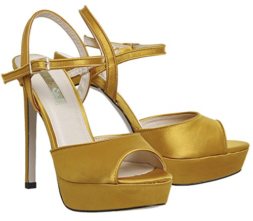Office Hoop Platform Heels Mustard Yellow Satin 3ATSY