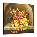 Fruit Artwork Vegetable Canvas Pictures : Grapes & Peaches & Pumpkin Graphic Art for Kitchen Wall