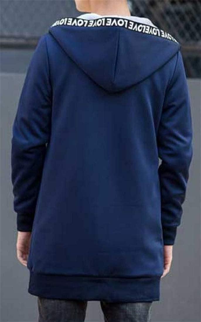 Cromoncent Mens Winter Thicken Fleece Lined Hooded Sweatshirt Long Jacket Parka Coat