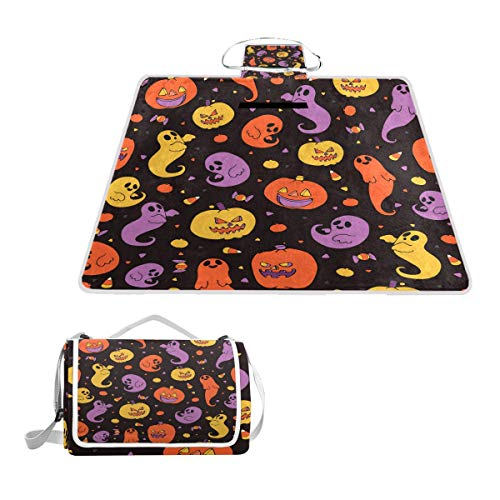 Large Waterproof Outdoor Picnic Blanket, Cute Halloween Candy Corn Pattern Sandproof and Waterproof Picnic Blanket Tote for Camping Hiking Grass Travelling ()