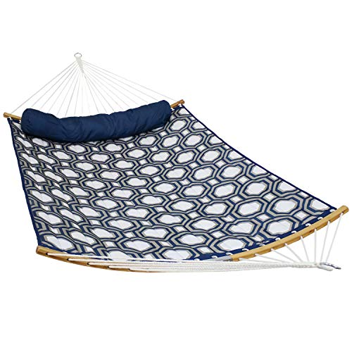 Sunnydaze Quilted 2-Person Hammock with 2-Piece Pull-Apart Curved Bamboo Spreader Bars, Heavy-Duty 400-Pound Weight Capacity, Navy and Gray Tiled Octagon