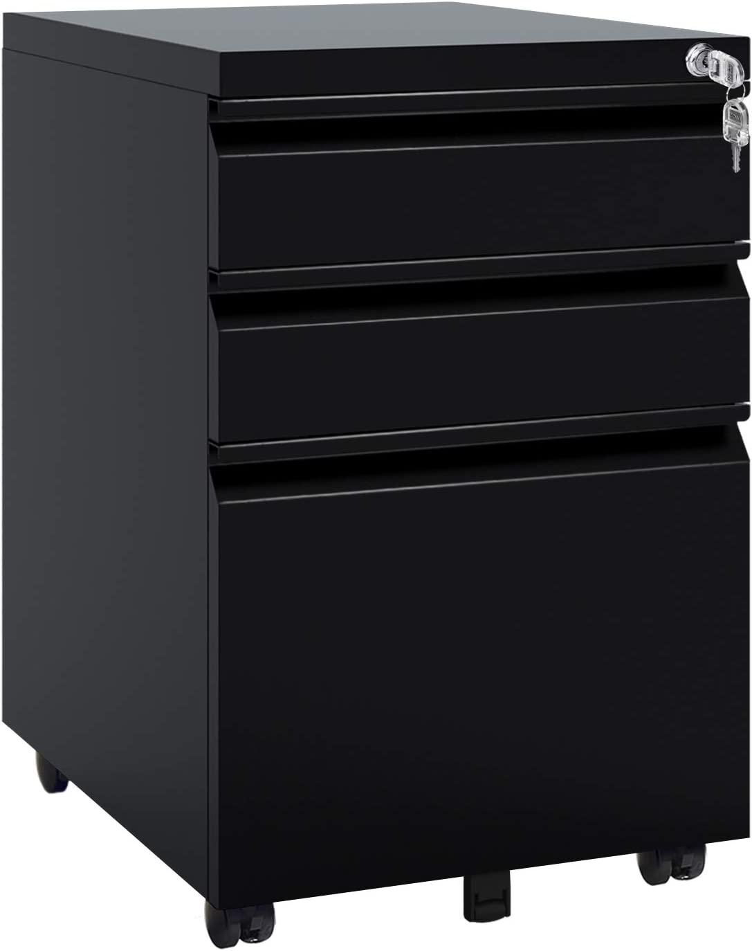 DEVAISE 334 Drawer Mobile File Cabinet with Lock, Under Desk Metal Filing  Cabinet for Legal/Letter/A34 File, Fully Assembled Except Wheels, Black