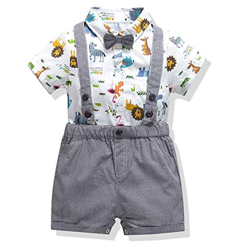Baby Boys Gentleman Romper Jumpsuit Overalls Rompers Set,Infant Short Sleeve Shirt+Bib Pants+Bow Tie Overalls Clothes Set (Animals, 18-24M/95)