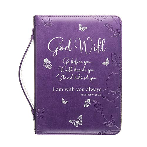 Purple Bible Cover (Bible Cover - Book Case in Purple with Butterflies - Blessed - Perfect Christian Gift for Women and Girls - Fits Medium Bible/Book Up to 9.5 x 7 x 2)