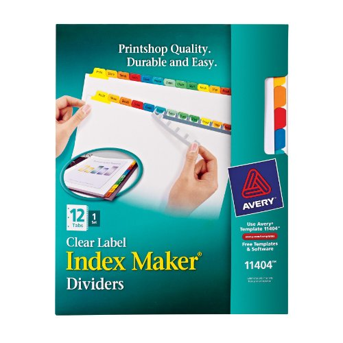 Avery Index Maker Clear Label Dividers, 12-Tab Set (11404) (12 Tab Index)