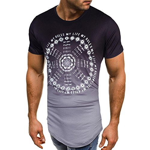 kaifongfu Men's Tops,Short Sleeve O Neck Slim Fit Muscle Tee Shirts Personality Tops Blouse(Black,XL) -