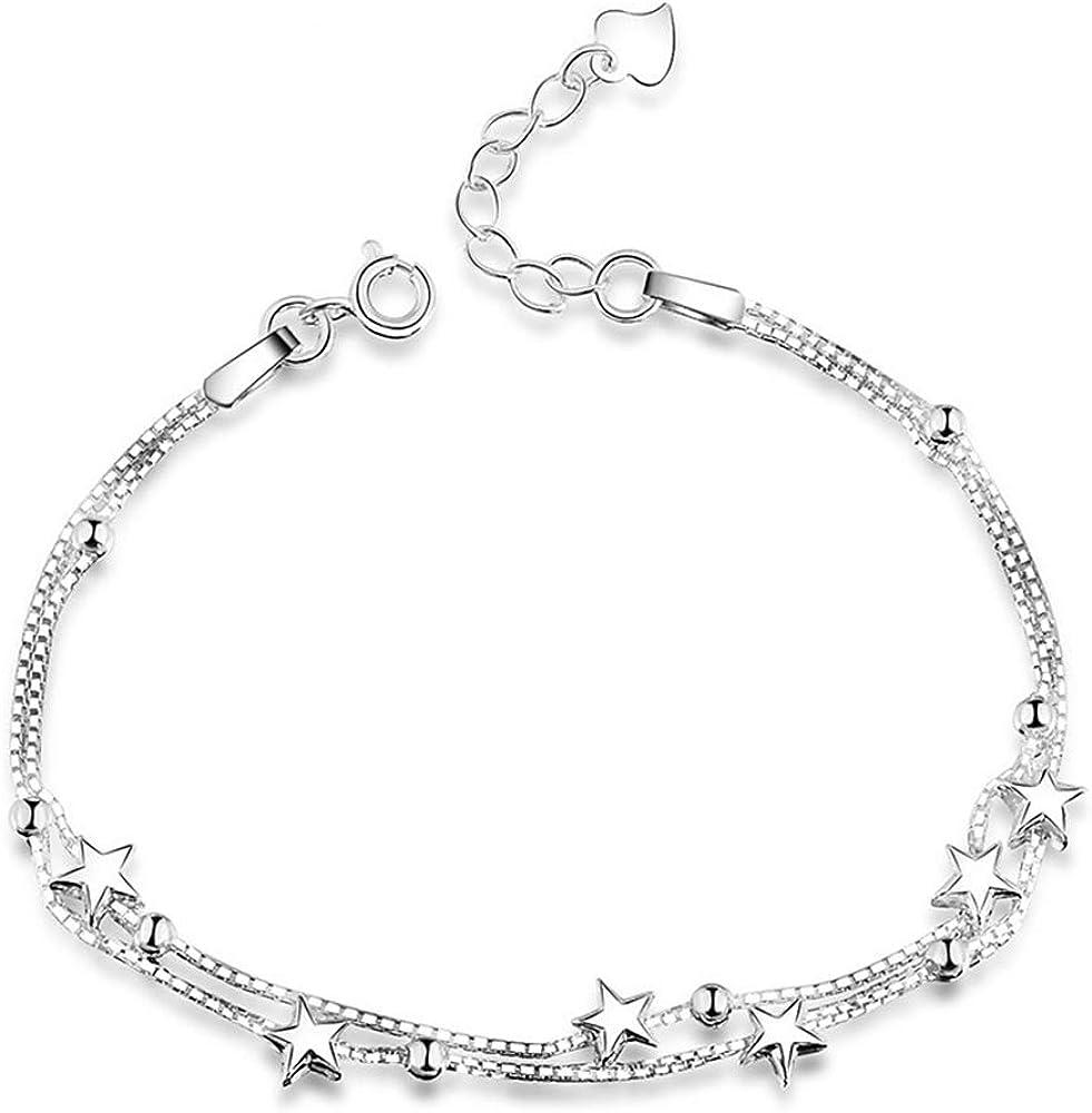 Elegante pulsera con pequeñas estrellas y perlas, de plata de ley 925, pulsera para mujer