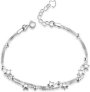 Elegante Pulsera con Pequeñas Estrellas y Perlas, de Plata de ley 925, Regalos Dia de San Valentin