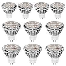 Windspeed 10 pack of MR11 LED Lamp Bulb GU4 Spot light, 3 Watt 12 Volts AC DC Lighting Fixture Not Dimmable 250 Lumen Daylight White 6000K,Mini Size, 20W 35W Halogen Lamp Equiv