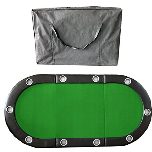 84'' 10 Player Texas Hold'em Folding Poker Table Top Green with Carrying Bag by IDS