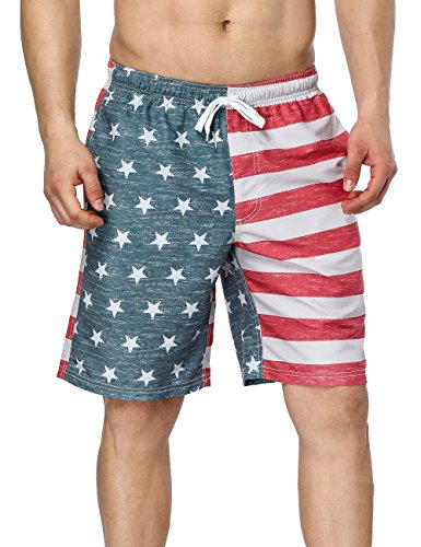 (V FOR CITY Mens American Flag Bathing Suits US Swimming Trunks Beach Shorts 32)