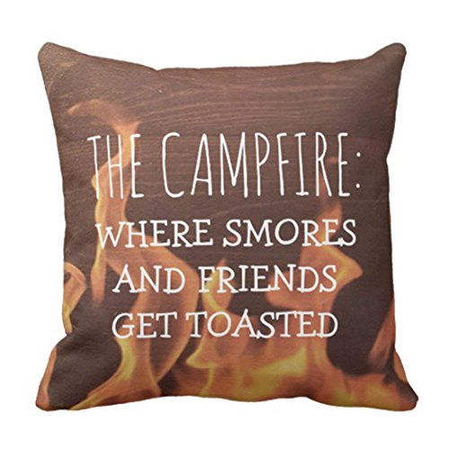Combat Smores (Throw Pillow Cover Fun Funny Camping Campfire Smores Friends Camp Home Square Size 18 x 18 Inches Decorative Pillow Case Home Decor Square Zippered Square Pillowcases)