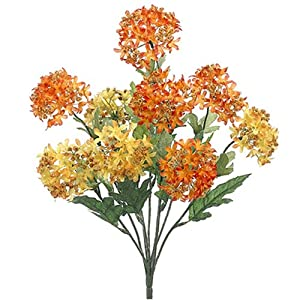 "18"" Silk Snowball Flower Bush -Orange/Yellow (Pack of 12) 92"