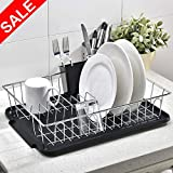 POPILION Superior Quality Kitchen Sink Side Antimicrobial Draining Dish Drying Rack,3-Piece Black