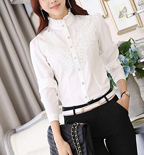 Aisuper - Camisas - Button Down - Manga Larga - para mujer blanco