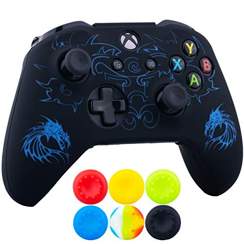 (9CDeer 1 x Silicone Laser Carving Protective Cover Skin + 6 Thumb Grips for Xbox One S/X Controller Dragon Blue)