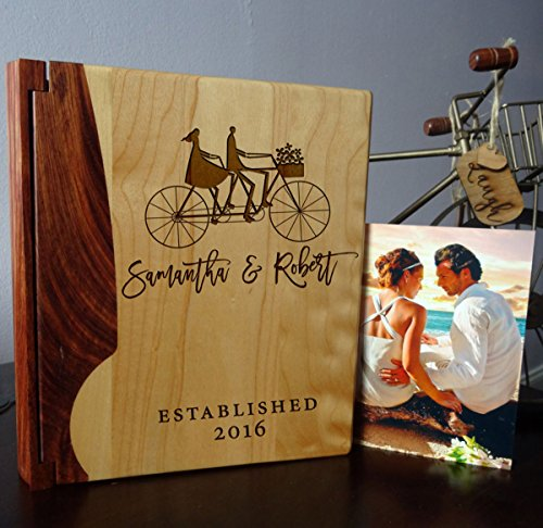 Personalized Wood Cover Photo Album, Custom Engraved Tandem Bicycle Wedding Album, Style 107 (Maple & Rosewood Cover) (Custom Album compare prices)