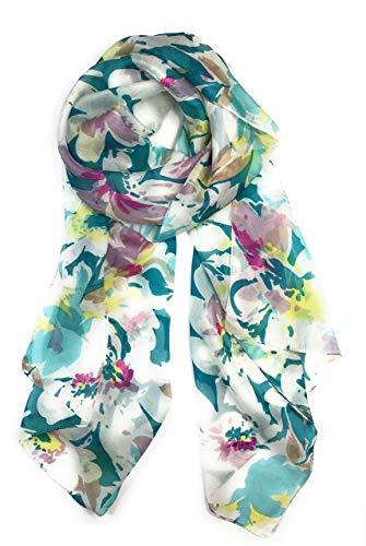 (Z&HTrends Womens Genuine Silk Scarf (small, Serene Garden Teal))