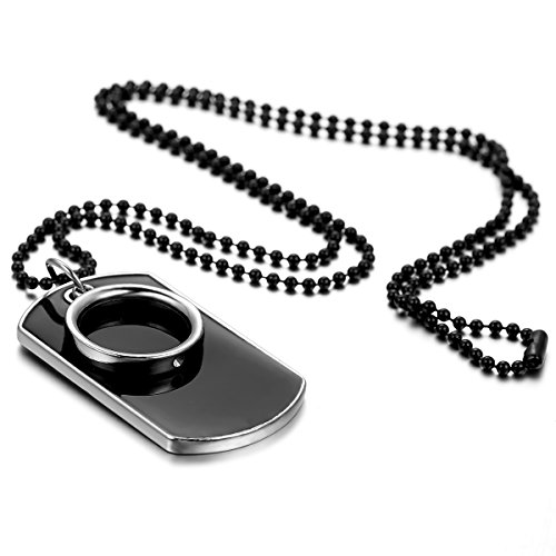 Flongo Men's Womens Vintage Alloy Ring Army Style Dog Tag Pendant Necklace, 27.5 inch Chain