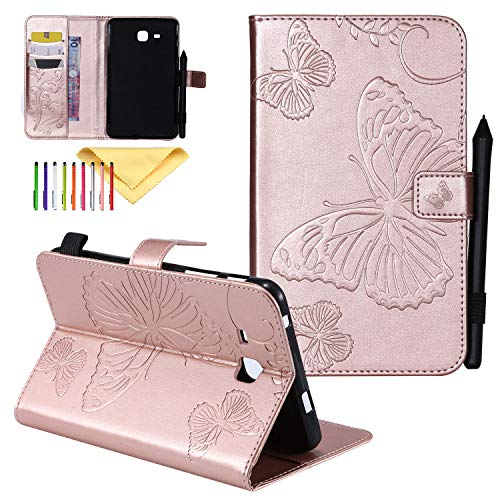 - Galaxy Tab A 7.0 Case, Cookk Embossed Synthetic Leather Butterfly Cover Magnetic Closure Stand Wallet Cards Holder Cover for Samsung Galaxy Model SM-T280 T285, with Auto Sleep/Wake, Rosegold