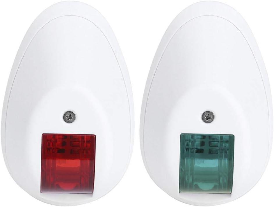 12V 3W Luz de advertencia de navegaci/ón impermeable Estribor verde L/ámpara de puerto roja para yate marino Luces para barcos L/ámpara de se/ñalizaci/ón LED de navegaci/ón Carcasa blanca
