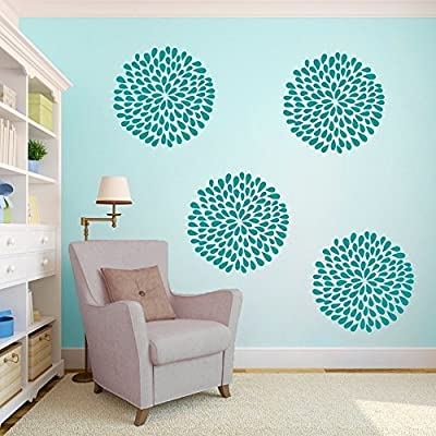 Vinyl Rain Drop Flower Wall Decal Rain Flower Wall Sticker Beautiful Flower Wall Mural Home Art Decor Teal