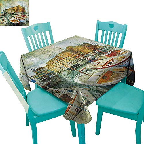 Naples Decor - longbuyer Marine,Dinning Tabletop Decor,Naples Small Boats at Historical Italian Coast with Heritage Castle Nautical Artwork,54